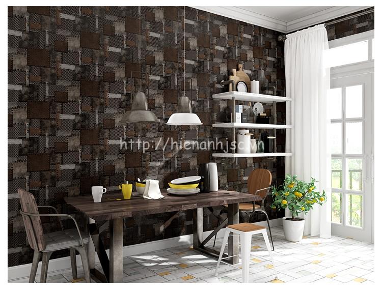 Giấy dán tường 3D - Họa tiết tường sắt công nghiệp 3D208 mẫu 2