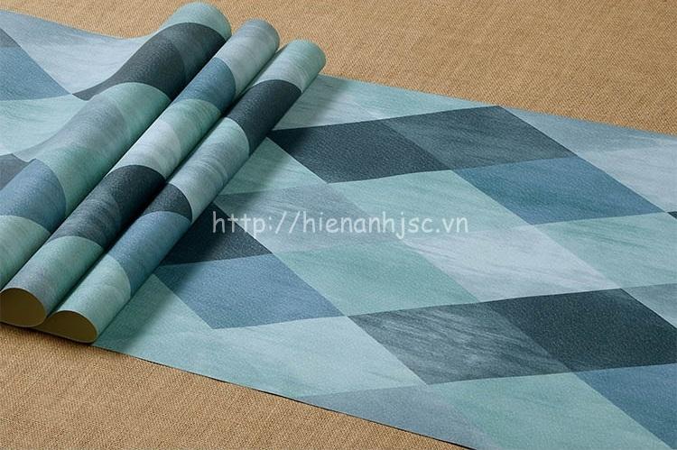 Giấy dán tường - Họa tiết hình thoi kim cương hiện đại 3D209 màu xanh