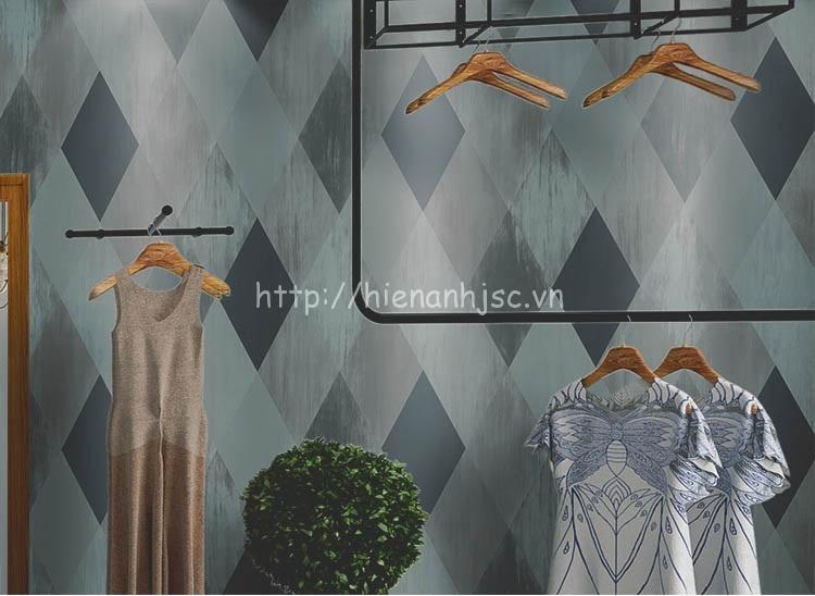 Giấy dán tường - Họa tiết hình thoi kim cương hiện đại 3D209 màu xám