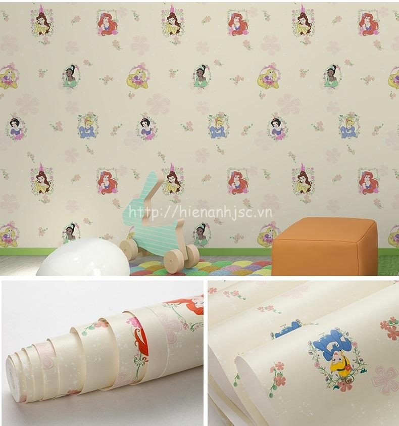 Giấy dán tường 3D - Họa tiết công chúa dislay cho bé 3D210 màu vàng