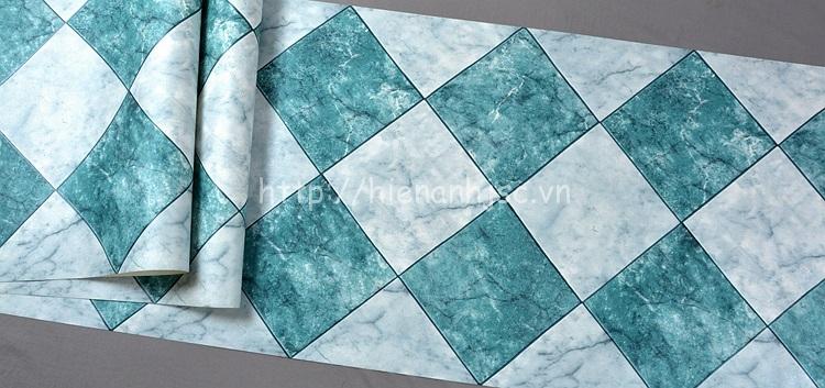 Giấy dán tường 3D - Họa tiết giả gạch đá marble 3D212 màu xanh
