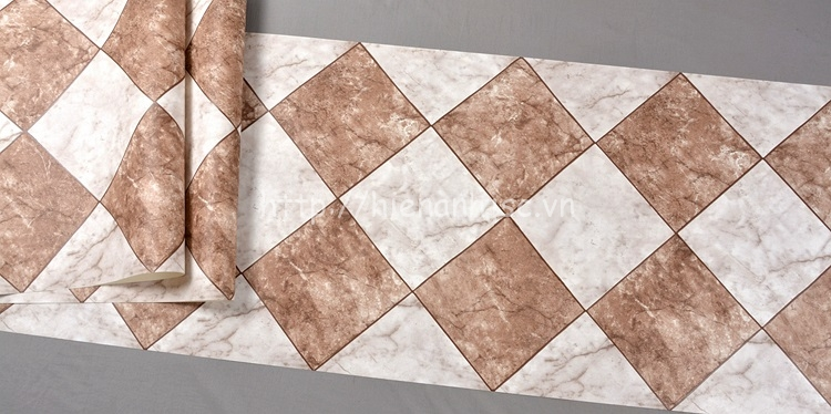 Giấy dán tường 3D - Họa tiết giả gạch đá marble 3D212 màu nâu