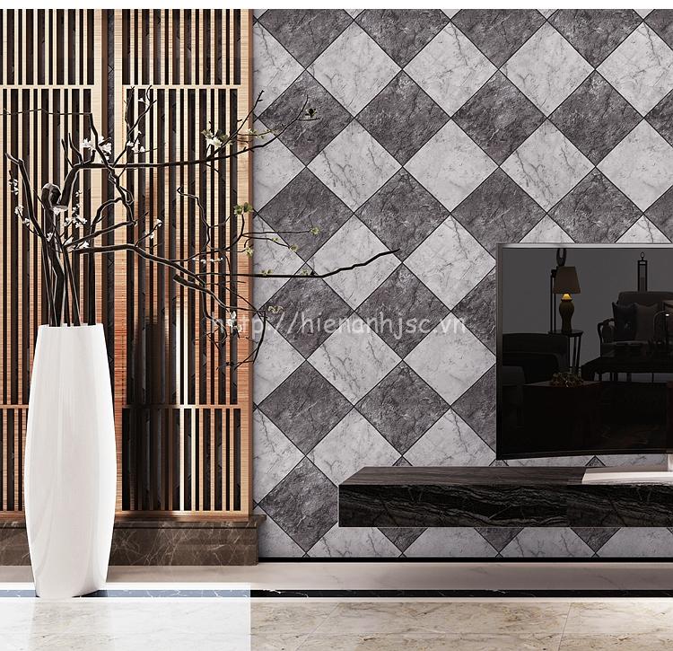 Giấy dán tường 3D - Họa tiết giả gạch đá marble 3D212 màu xám