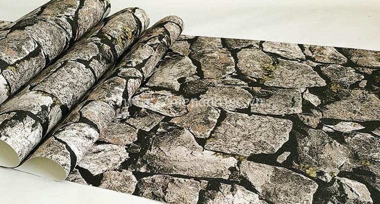 Giấy dán tường 3D - Họa tiết giả đá xếp tự nhiên 3D214 mẫu 3