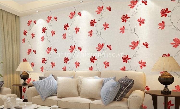 Giấy dán tường 3D - Họa tiết hoa kết hợp dây leo hiện đại 3D206 sắc đỏ