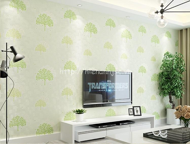 Giấy dán tường 3D - Họa tiết kết hợp cây lá tự nhiên 3D207 mẫu cây xanh