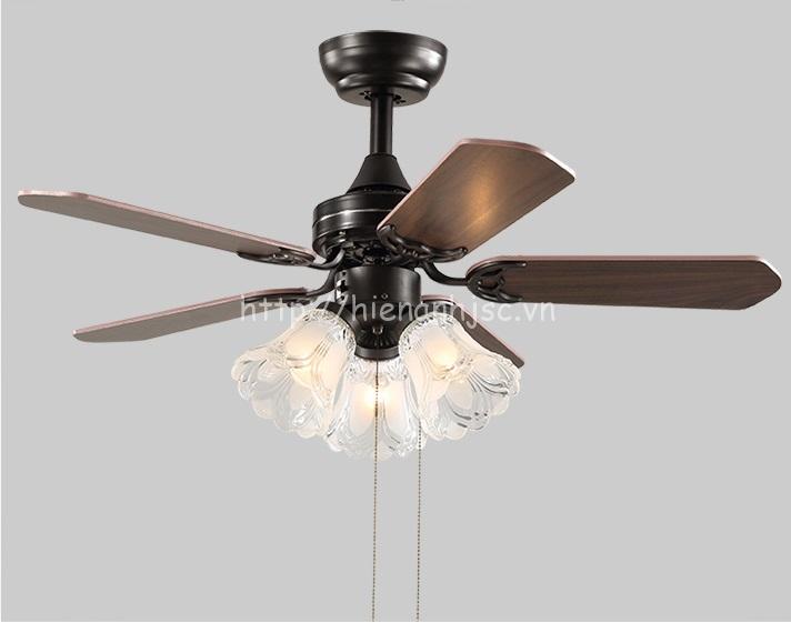 Đèn quạt trần phong cách Châu Âu cổ kính DTT050  chế độ bật