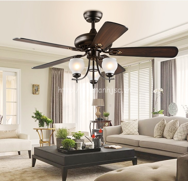 Đèn trang trí - Đèn quạt trần phong cách Châu Âu đơn giản DTT051 cho phòng khách