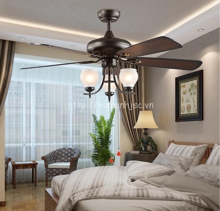 Đèn trang trí - Đèn quạt trần phong cách Châu Âu đơn giản DTT051 cho phòng ngủ