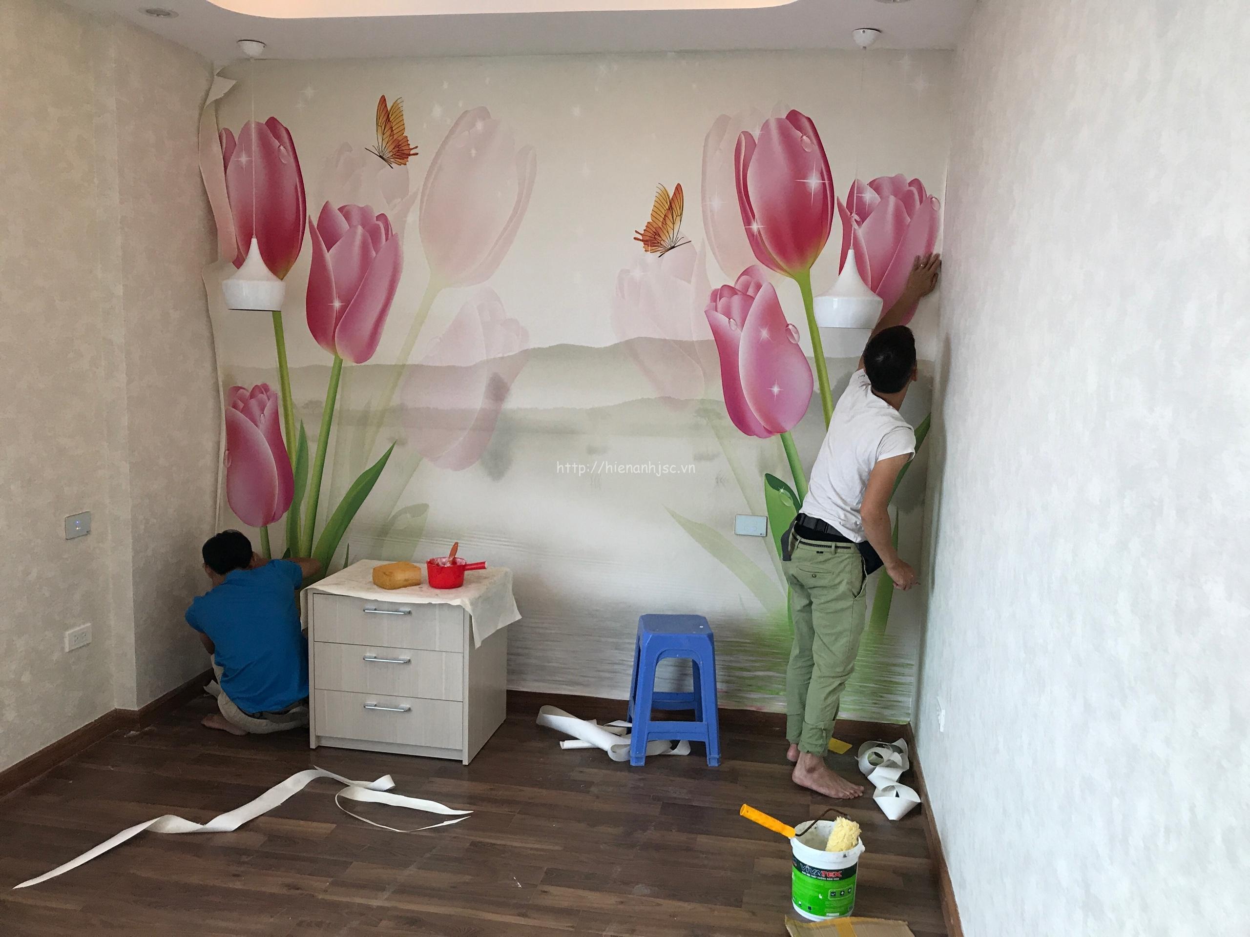 Thi công tranh và giấy dán tường phòng ngủ tphcm