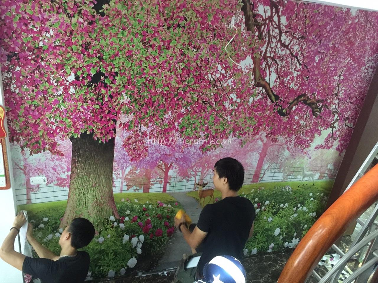 Thi công tranh tường 3D hoa đào tại TPHCM