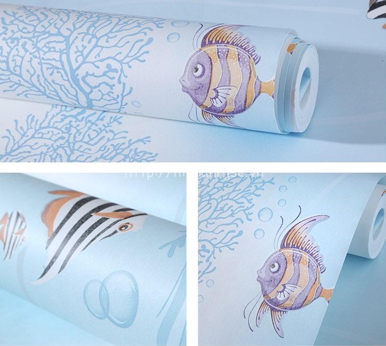 Giấy dán tường 3D - Họa tiết cá đại dương và san hô cho bé 3D215 - mẫu 2