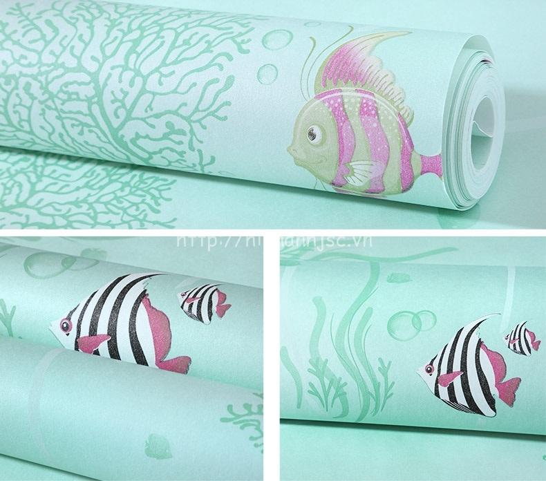 Giấy dán tường 3D - Họa tiết cá đại dương và san hô cho bé 3D215 - mẫu 3
