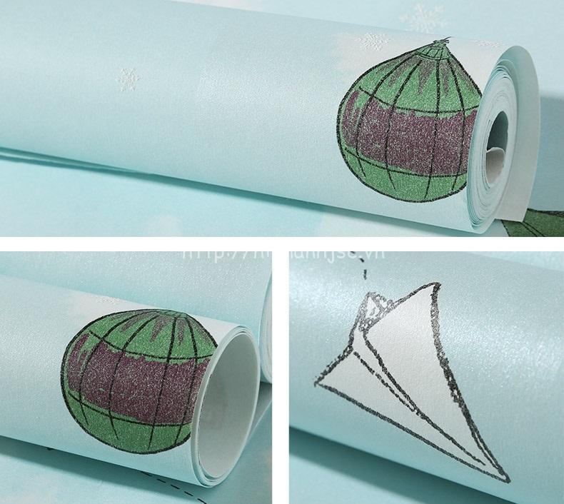 Giấy dán tường 3D - Họa tiết máy bay, khinh khí cầu cho bé 3D216 mẫu 1