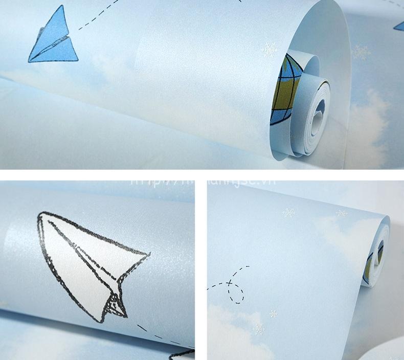 Giấy dán tường 3D - Họa tiết máy bay, khinh khí cầu cho bé 3D216 mẫu 2