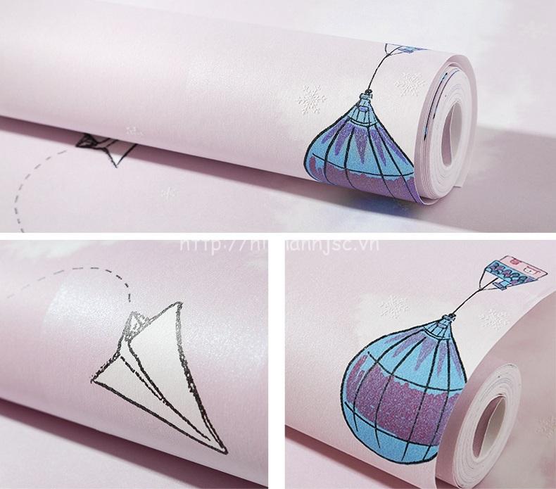 Giấy dán tường 3D - Họa tiết máy bay, khinh khí cầu cho bé 3D216 mẫu 3