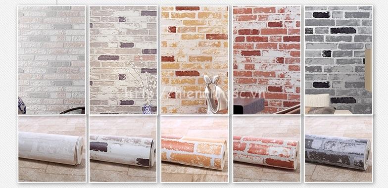 5 màu của mẫu giấy dán tường họa tiết giả gạch hiện đại 3D218