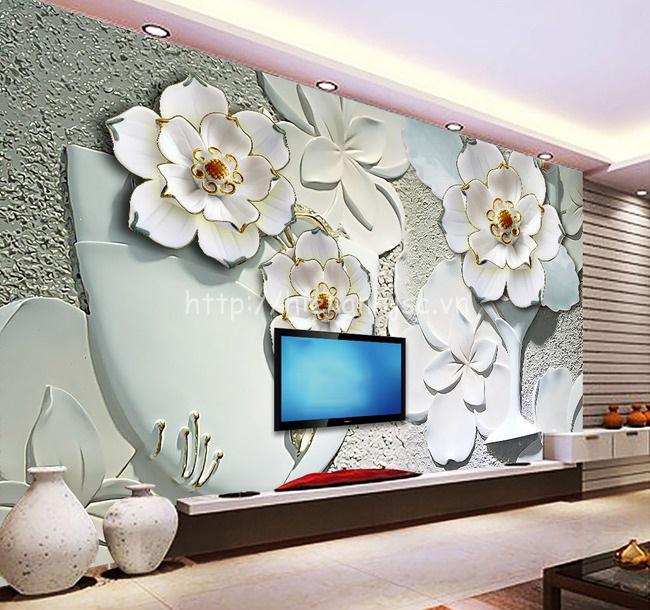 Tranh dán tường hoa mẫu đơn giả ngọc cho phòng khách sang trọng