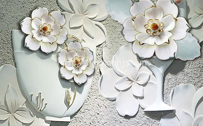 Tranh dán tường 5D - Tranh hoa mẫu đơn giả ngọc sang trọng 5D162