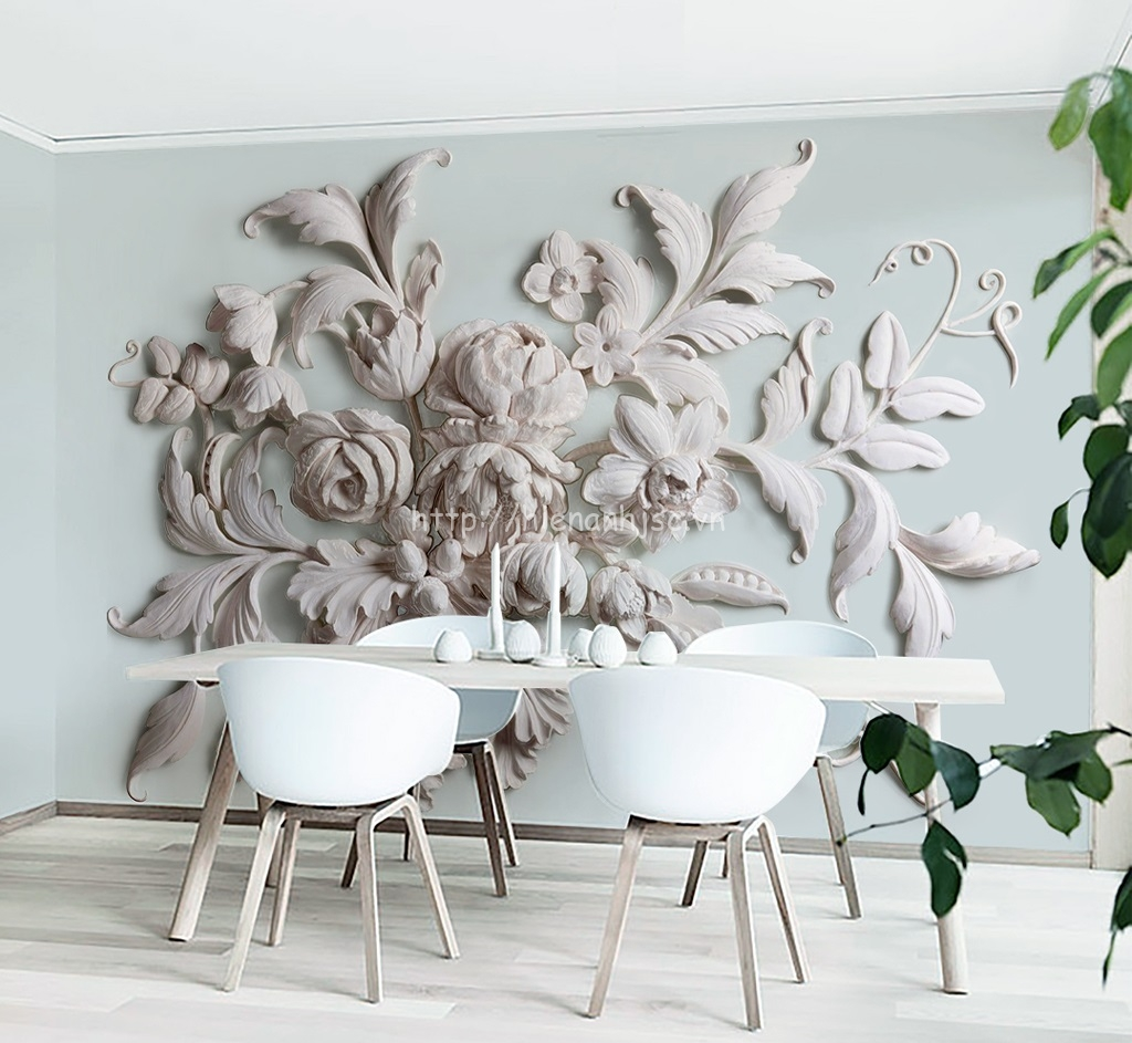 Tranh dán tường 5D - Tranh hoa mẫu đơn nổi 3 chiều phong cách Châu Âu 5D163