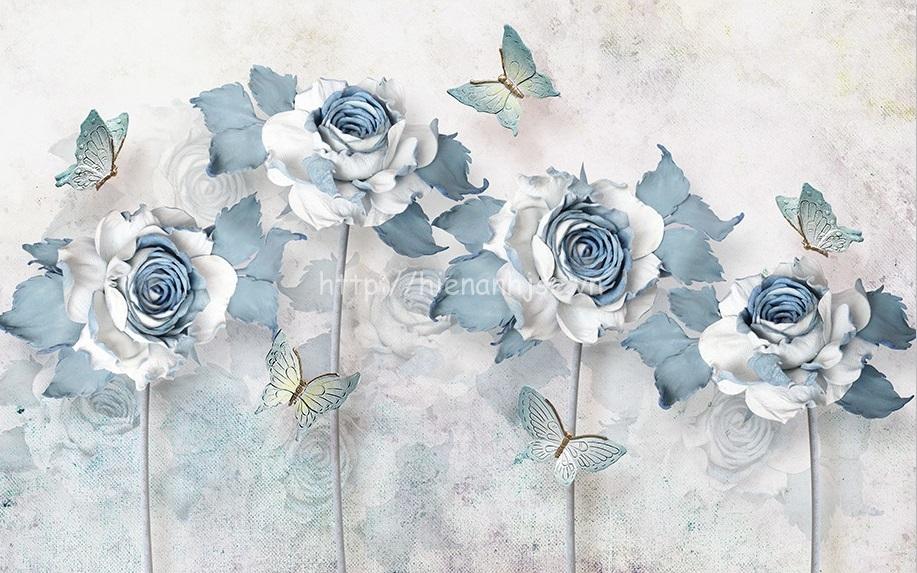 Tranh dán tường 5D - Bối cảnh hoa hồng và bướm tao nhã 5D164