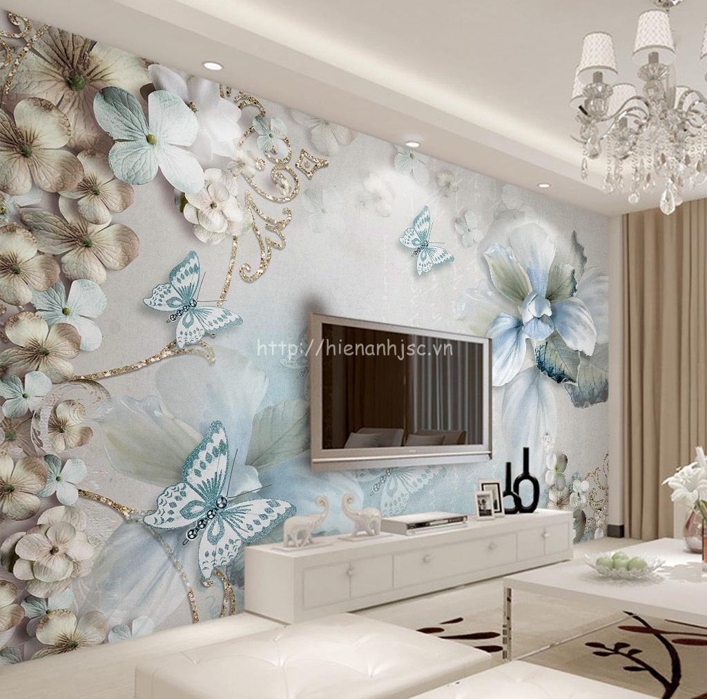 Tranh dán tường 5D - Bối cảnh hoa và bướm trang sức lãng mạn 5D165