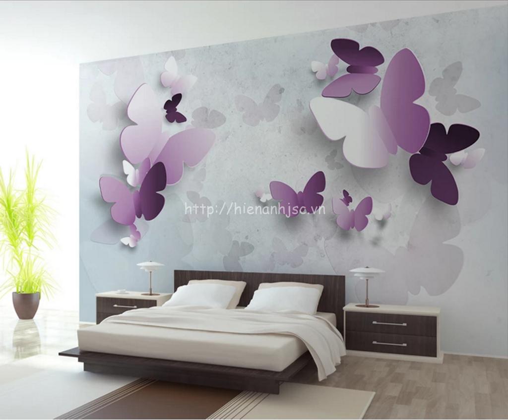 Tranh dán tường bướm tím cho phòng ngủ lãng mạn