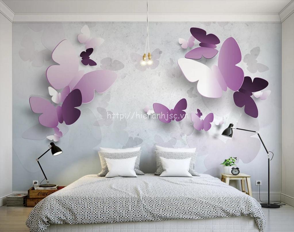 Tranh dán tường bướm tím cho phòng ngủ ấm áp, nồng nàn