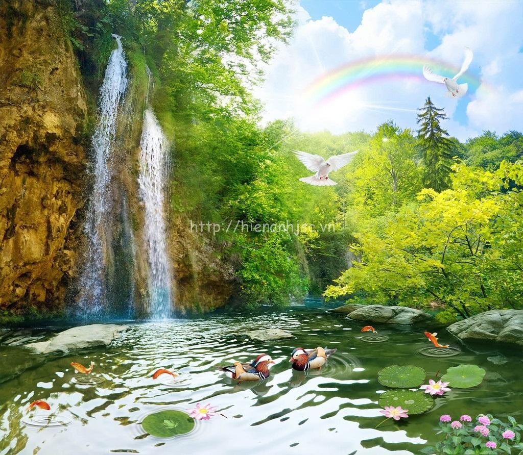 Tranh dán tường thác nước khung cảnh thần tiên