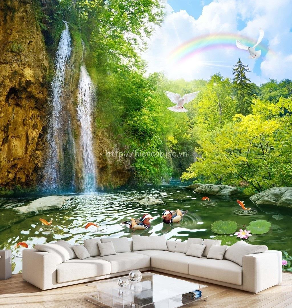 Tranh dán tường thác nước thần tiên khiến cho không gian của căn phòng trở nên mở rộng hơn rất nhiều