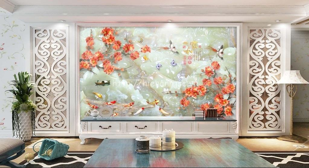 Tranh dán tường 5D - Tranh cá chép hoa mận giả ngọc 5D169