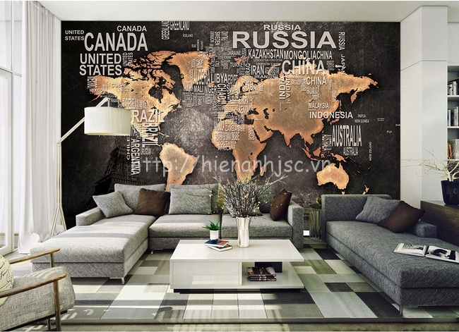 Tranh dán tường bản đồ thế giới cho phòng khách hiện đại