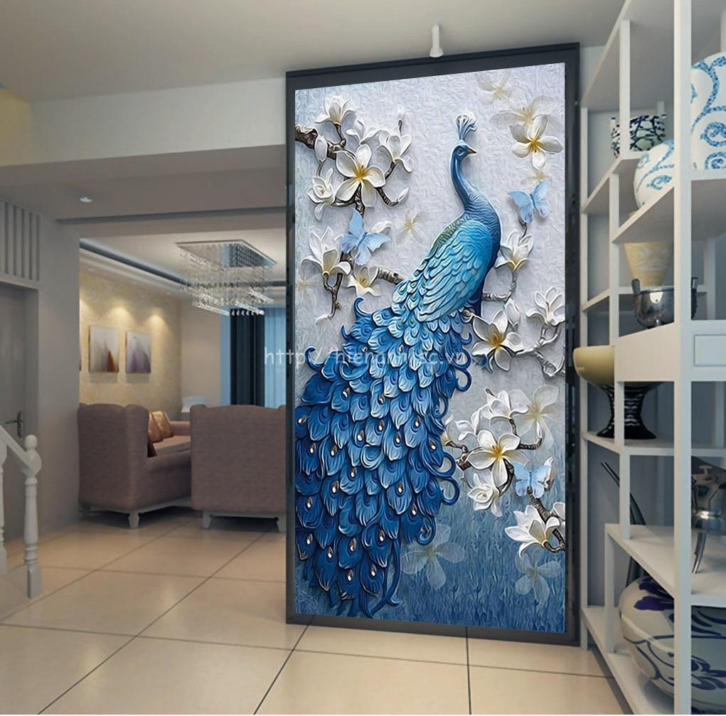 Tranh dán tường 5D - Tranh chim công xanh và hoa đào phong cách sơn dầu 5D173