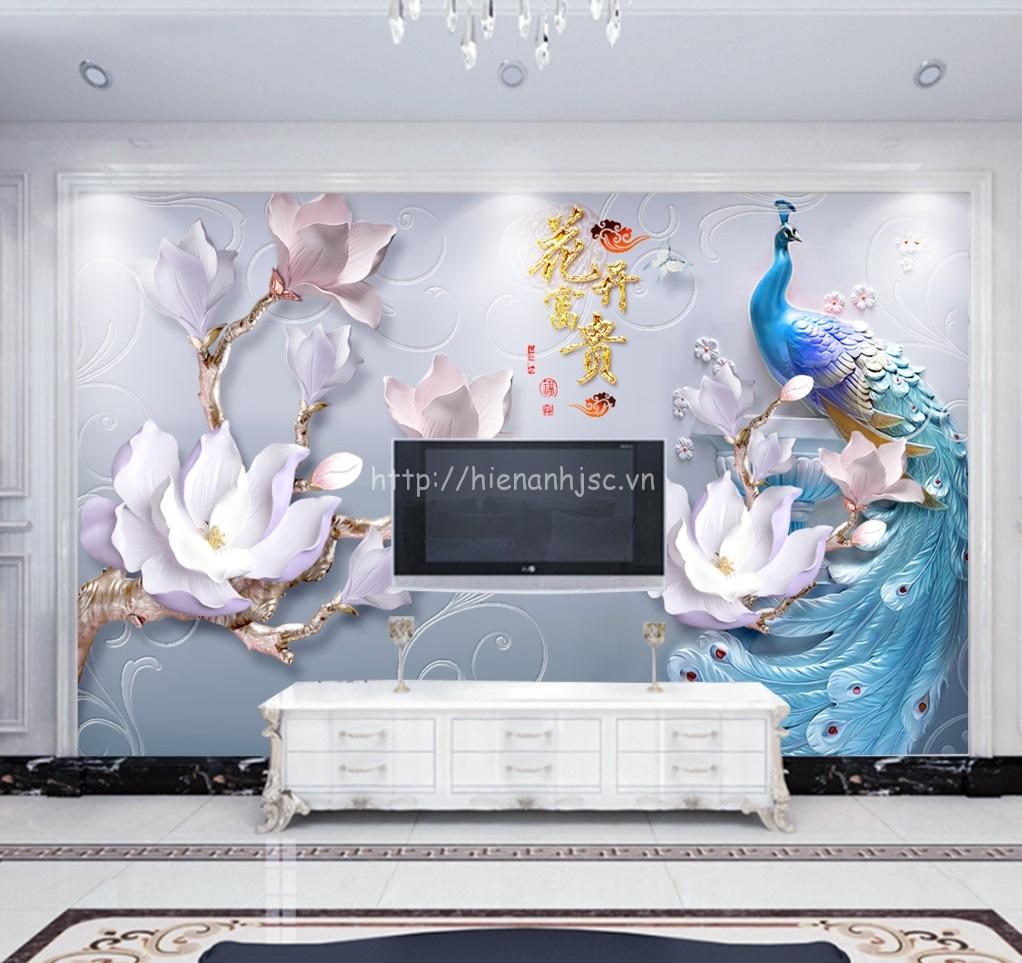 Tranh dán tường 5D - Tranh chim công ba chiều và hoa sứ 5D174