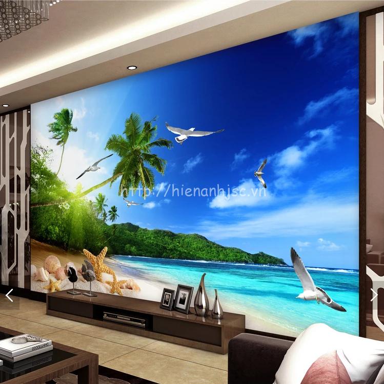 Tranh dán tường 5D - Tranh bãi biển, cây dừa & chim hải âu 5D175