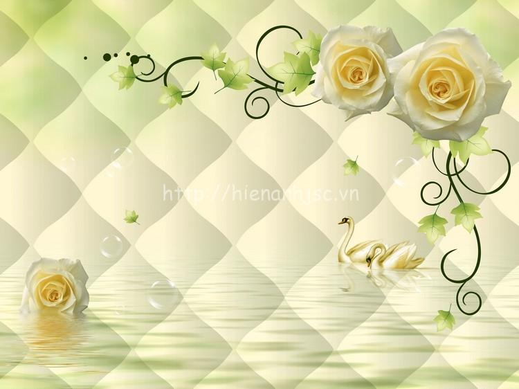 Tranh dán tường hoa hồng phòng ngủ