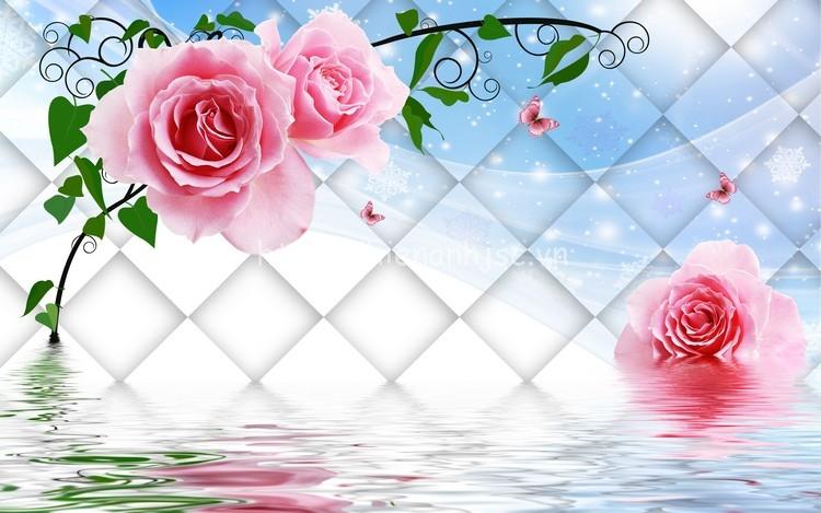 Tranh dán tường hoa hồng đẹp lãng mạn in 3D