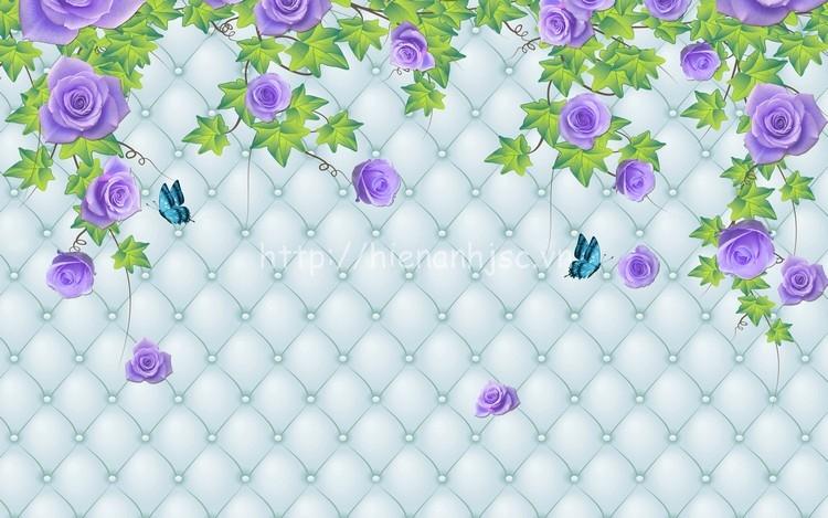 Tranh hoa tím lãng mạn cho phòng ngủ