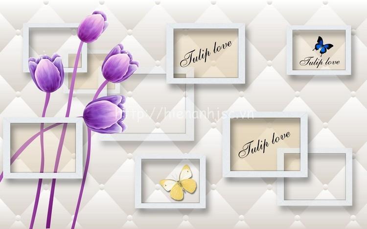 Tranh hoa đơn giản dán tường phòng ngủ