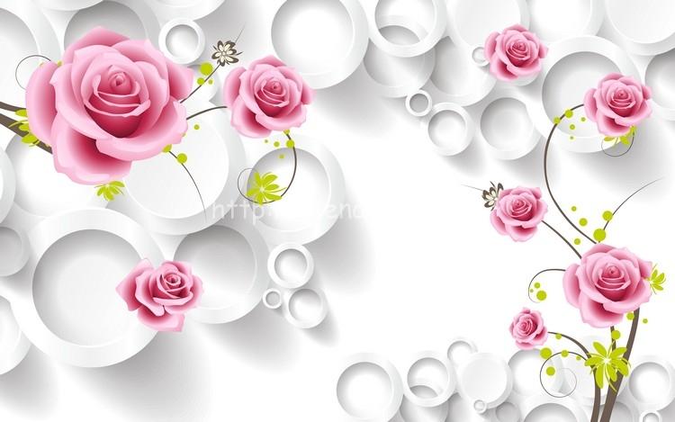 Tranh dán tường 3D hoa hồng nền trắng