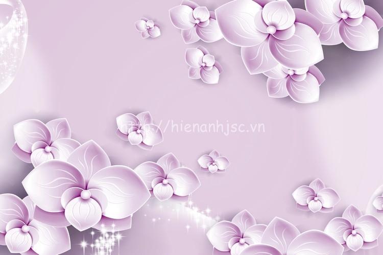 Tranh hoa tím in 3D đẹp và sắc nét