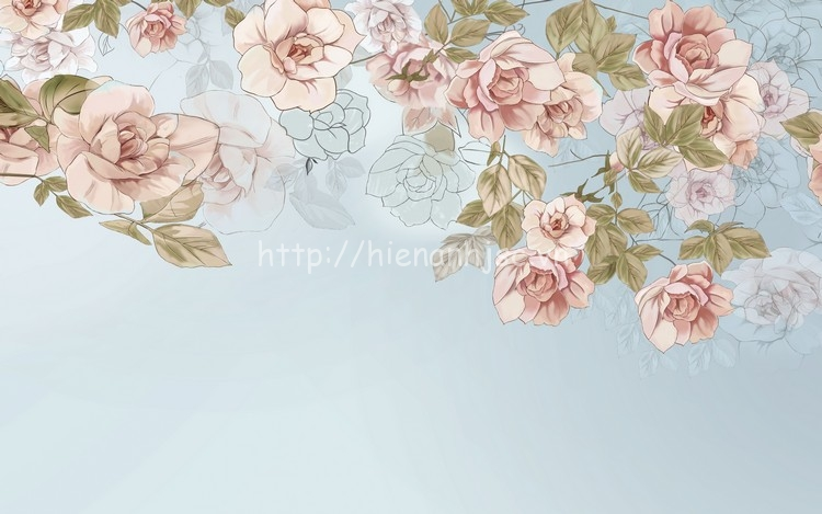 Tranh dán tường hoa 3D đẹp phòng ngủ