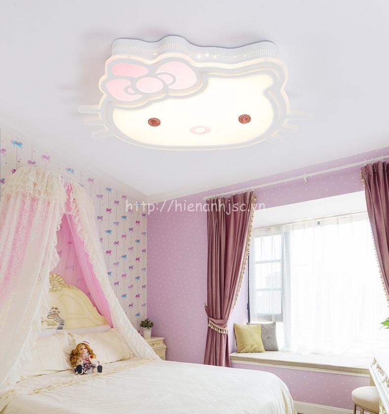 Đèn ốp trần hình dáng hello kitty phù hợp với tông màu hồng cho phòng ngủ của bé thêm dễ thương