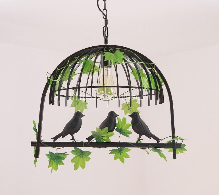 Đèn thả trang trí lồng chim sáng tạo DTT061 mẫu 1 bóng màu đen