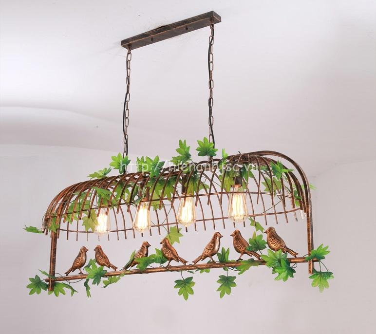 Đèn thả trang trí lồng chim sáng tạo DTT061 mẫu 4 bóng màu đồng