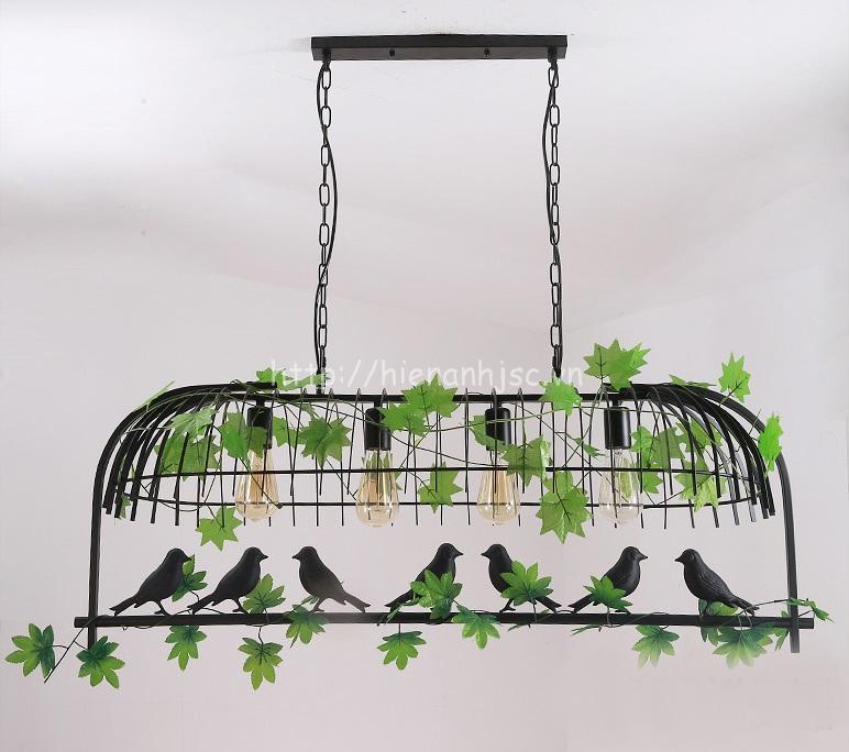 Đèn thả trang trí lồng chim sáng tạo DTT061 mẫu 4 bóng màu đen
