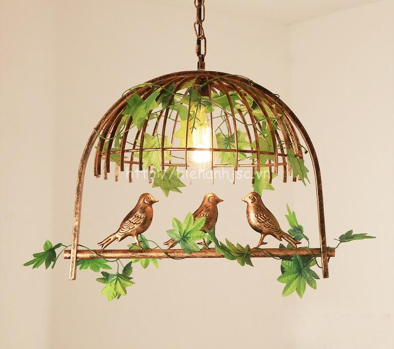 Đèn thả trang trí lồng chim sáng tạo DTT061 mẫu 1 bóng màu đồng