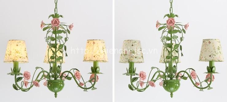 Đèn chùm trang trí hoa hồng lãng mạn DTT063 3 bóng hoa hồng