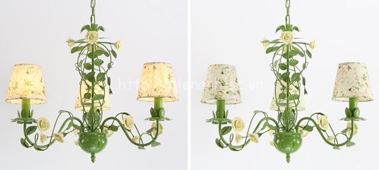 Đèn chùm trang trí hoa hồng lãng mạn DTT063 3 bóng hoa vàng