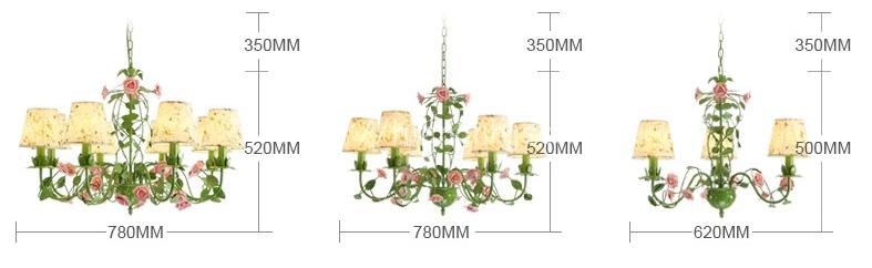 Kích thước của Đèn chùm trang trí hoa hồng lãng mạn DTT063